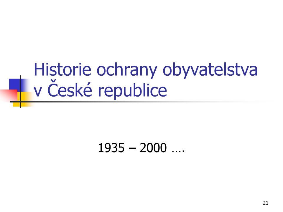 21 Historie ochrany obyvatelstva v České republice 1935 – 2000 ….