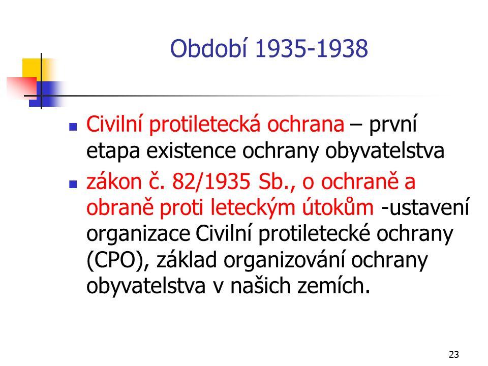 23 Období 1935-1938 Civilní protiletecká ochrana – první etapa existence ochrany obyvatelstva zákon č.
