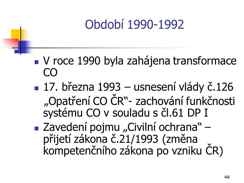 44 Období 1990-1992 V roce 1990 byla zahájena transformace CO 17.