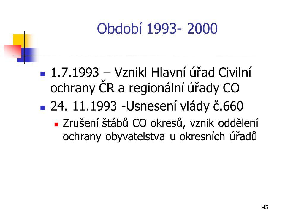 45 Období 1993- 2000 1.7.1993 – Vznikl Hlavní úřad Civilní ochrany ČR a regionální úřady CO 24.