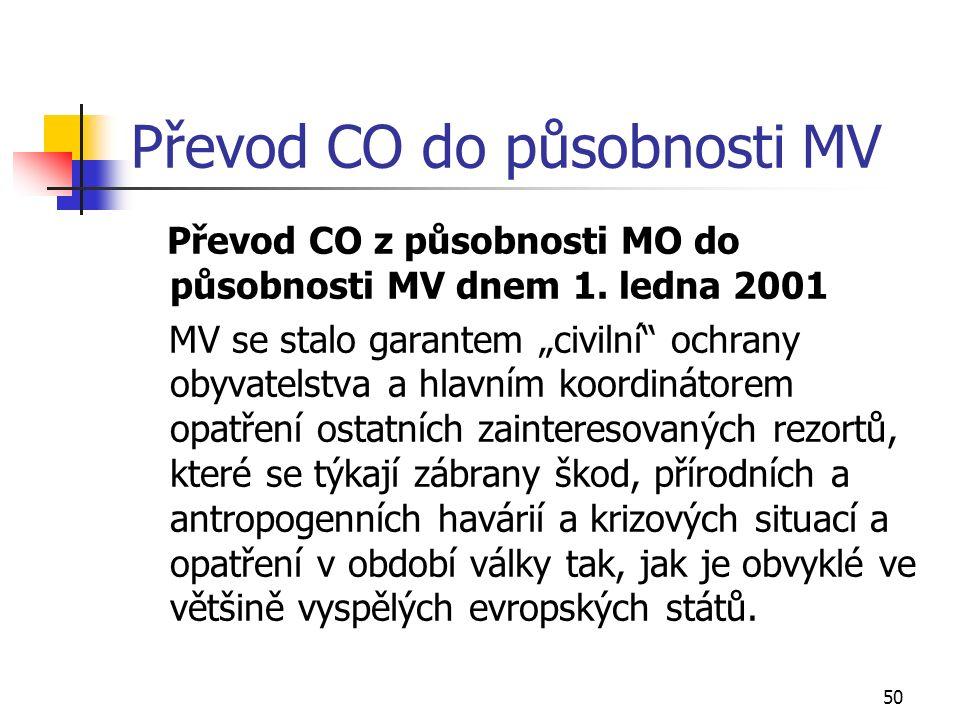 50 Převod CO do působnosti MV Převod CO z působnosti MO do působnosti MV dnem 1.