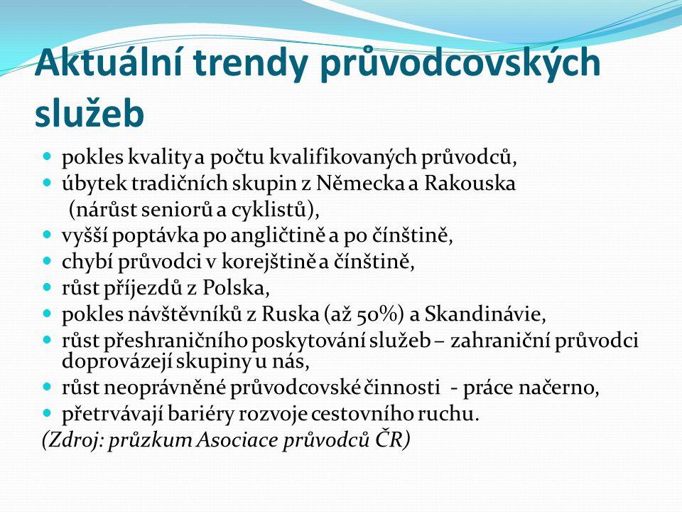 Aktuální trendy průvodcovských služeb pokles kvality a počtu kvalifikovaných průvodců, úbytek tradičních skupin z Německa a Rakouska (nárůst seniorů a cyklistů), vyšší poptávka po angličtině a po čínštině, chybí průvodci v korejštině a čínštině, růst příjezdů z Polska, pokles návštěvníků z Ruska (až 50%) a Skandinávie, růst přeshraničního poskytování služeb – zahraniční průvodci doprovázejí skupiny u nás, růst neoprávněné průvodcovské činnosti - práce načerno, přetrvávají bariéry rozvoje cestovního ruchu.