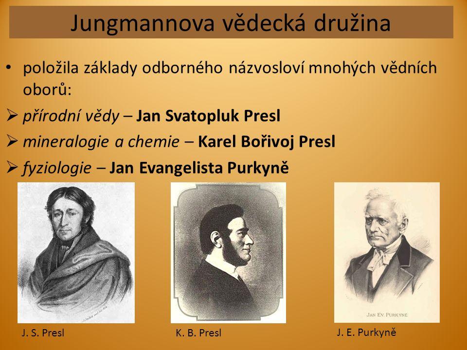 Jungmannova vědecká družina položila základy odborného názvosloví mnohých vědních oborů:  přírodní vědy – Jan Svatopluk Presl  mineralogie a chemie