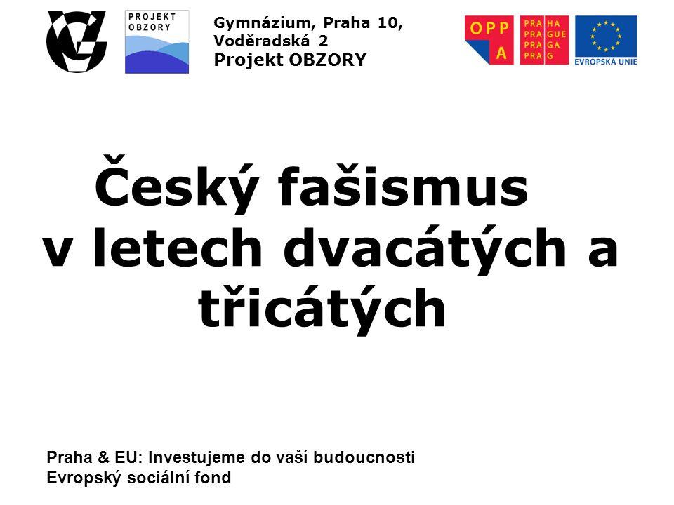 Praha & EU: Investujeme do vaší budoucnosti Evropský sociální fond Gymnázium, Praha 10, Voděradská 2 Projekt OBZORY Český fašismus v letech dvacátých a třicátých