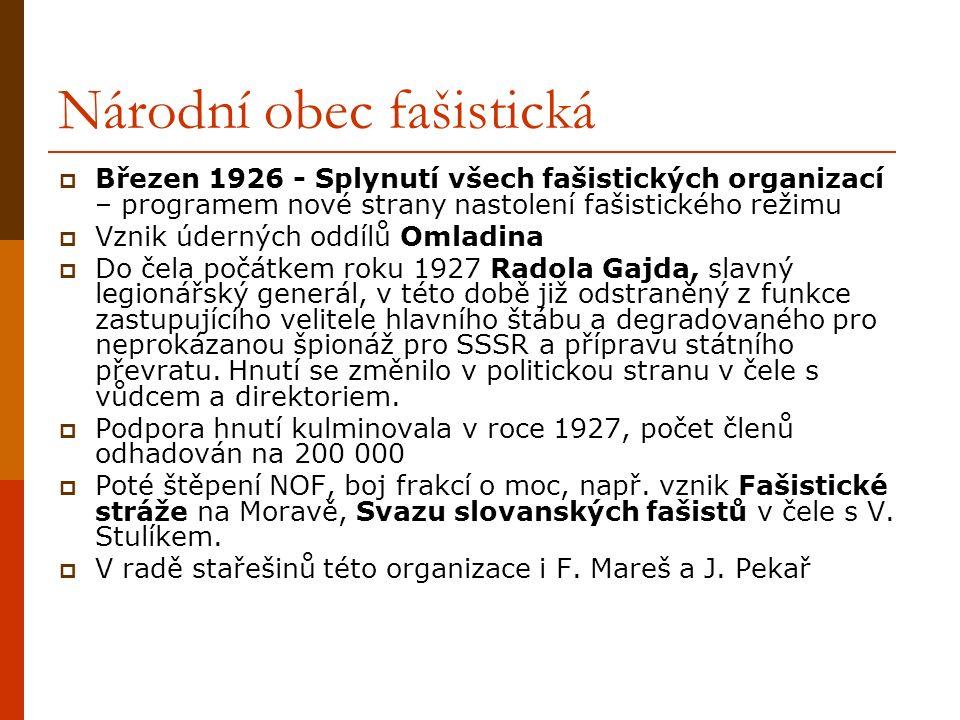 Národní obec fašistická  Březen 1926 - Splynutí všech fašistických organizací – programem nové strany nastolení fašistického režimu  Vznik úderných oddílů Omladina  Do čela počátkem roku 1927 Radola Gajda, slavný legionářský generál, v této době již odstraněný z funkce zastupujícího velitele hlavního štábu a degradovaného pro neprokázanou špionáž pro SSSR a přípravu státního převratu.