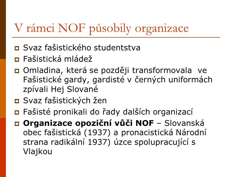 V rámci NOF působily organizace  Svaz fašistického studentstva  Fašistická mládež  Omladina, která se později transformovala ve Fašistické gardy, gardisté v černých uniformách zpívali Hej Slované  Svaz fašistických žen  Fašisté pronikali do řady dalších organizací  Organizace opoziční vůči NOF – Slovanská obec fašistická (1937) a pronacistická Národní strana radikální 1937) úzce spolupracující s Vlajkou