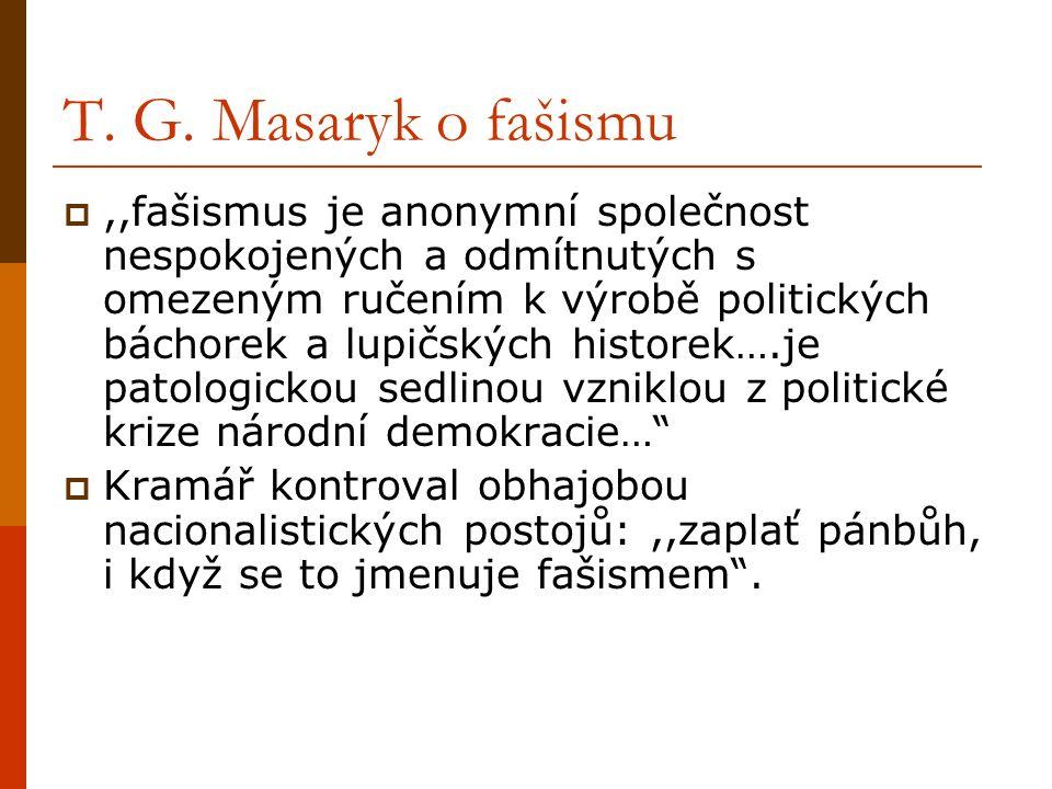 T. G. Masaryk o fašismu ,,fašismus je anonymní společnost nespokojených a odmítnutých s omezeným ručením k výrobě politických báchorek a lupičských h