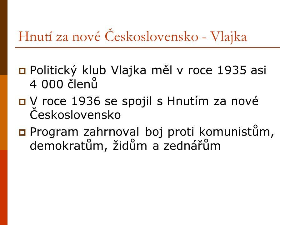 Hnutí za nové Československo - Vlajka  Politický klub Vlajka měl v roce 1935 asi 4 000 členů  V roce 1936 se spojil s Hnutím za nové Československo