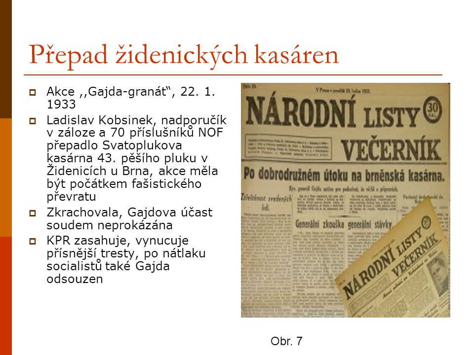 """Přepad židenických kasáren  Akce,,Gajda-granát"""", 22. 1. 1933  Ladislav Kobsinek, nadporučík v záloze a 70 příslušníků NOF přepadlo Svatoplukova kasá"""
