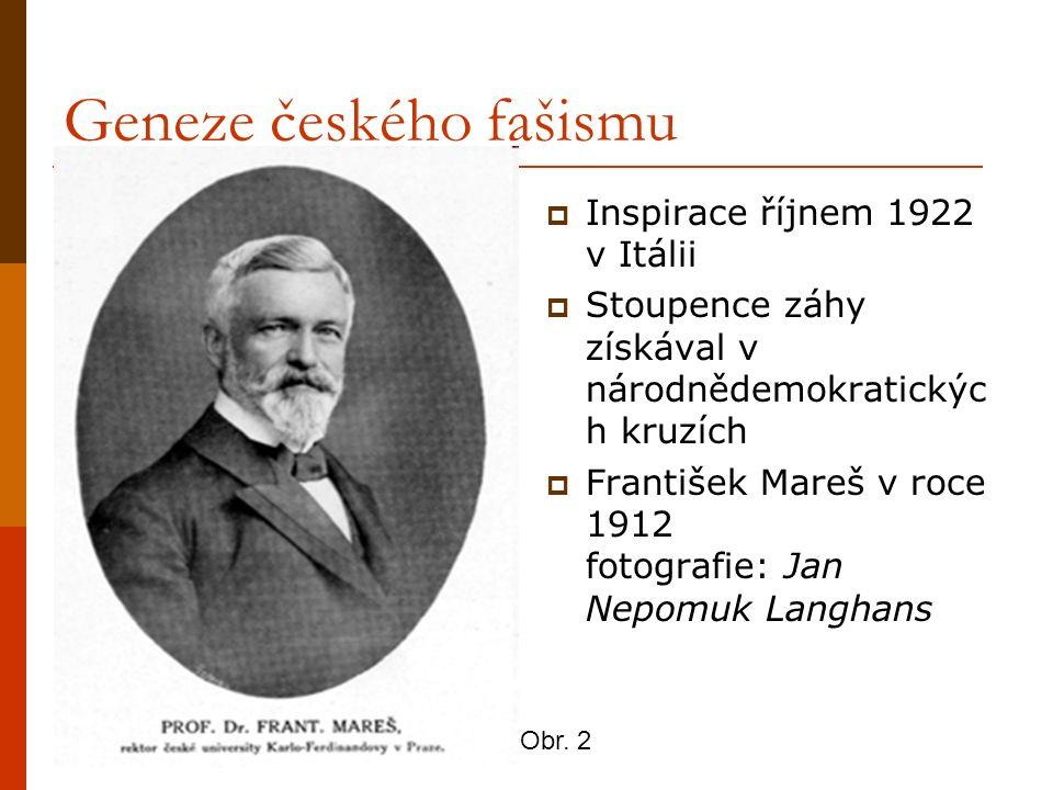 Geneze českého fašismu  Inspirace říjnem 1922 v Itálii  Stoupence záhy získával v národnědemokratickýc h kruzích  František Mareš v roce 1912 fotog