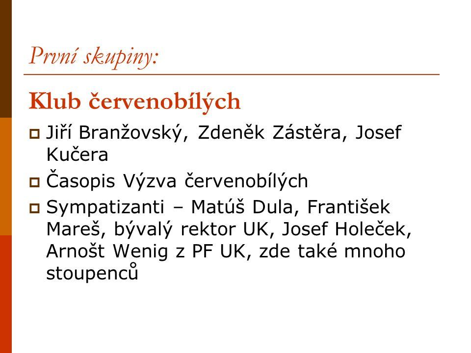 První skupiny: Klub červenobílých  Jiří Branžovský, Zdeněk Zástěra, Josef Kučera  Časopis Výzva červenobílých  Sympatizanti – Matúš Dula, František