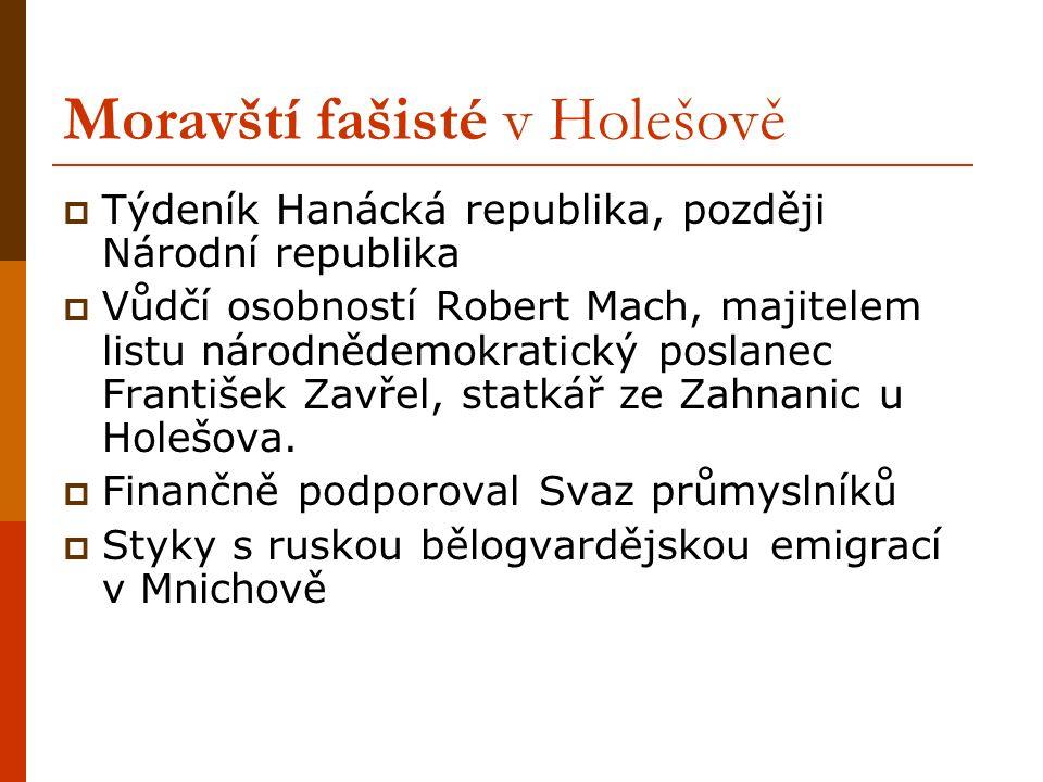 Moravští fašisté v Holešově  Týdeník Hanácká republika, později Národní republika  Vůdčí osobností Robert Mach, majitelem listu národnědemokratický poslanec František Zavřel, statkář ze Zahnanic u Holešova.