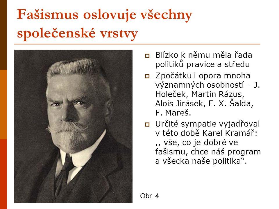 Fašismus oslovuje všechny společenské vrstvy  Blízko k němu měla řada politiků pravice a středu  Zpočátku i opora mnoha významných osobností – J.