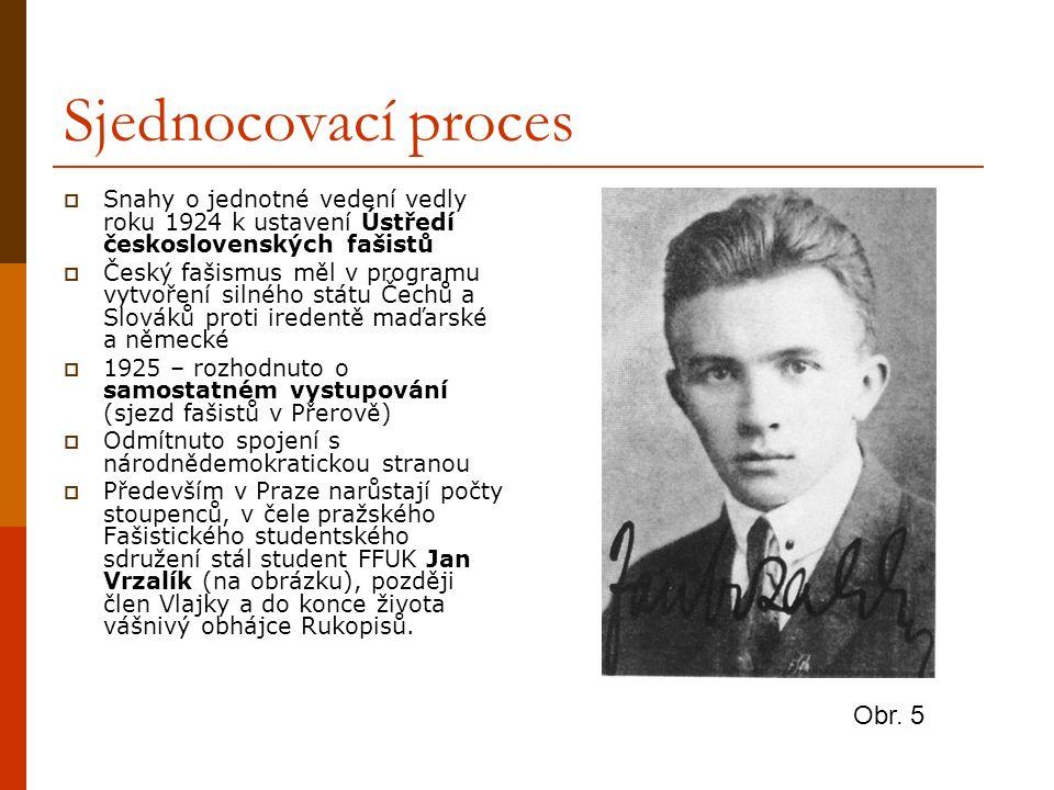 Sjednocovací proces  Snahy o jednotné vedení vedly roku 1924 k ustavení Ústředí československých fašistů  Český fašismus měl v programu vytvoření si