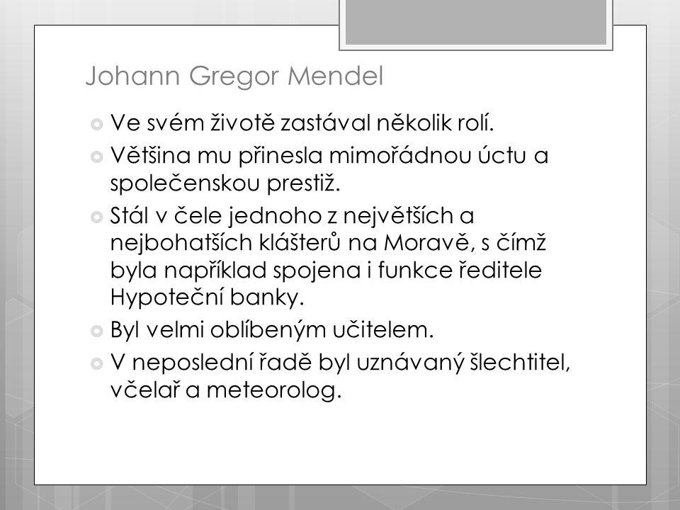 Johann Gregor Mendel  Ve svém životě zastával několik rolí.