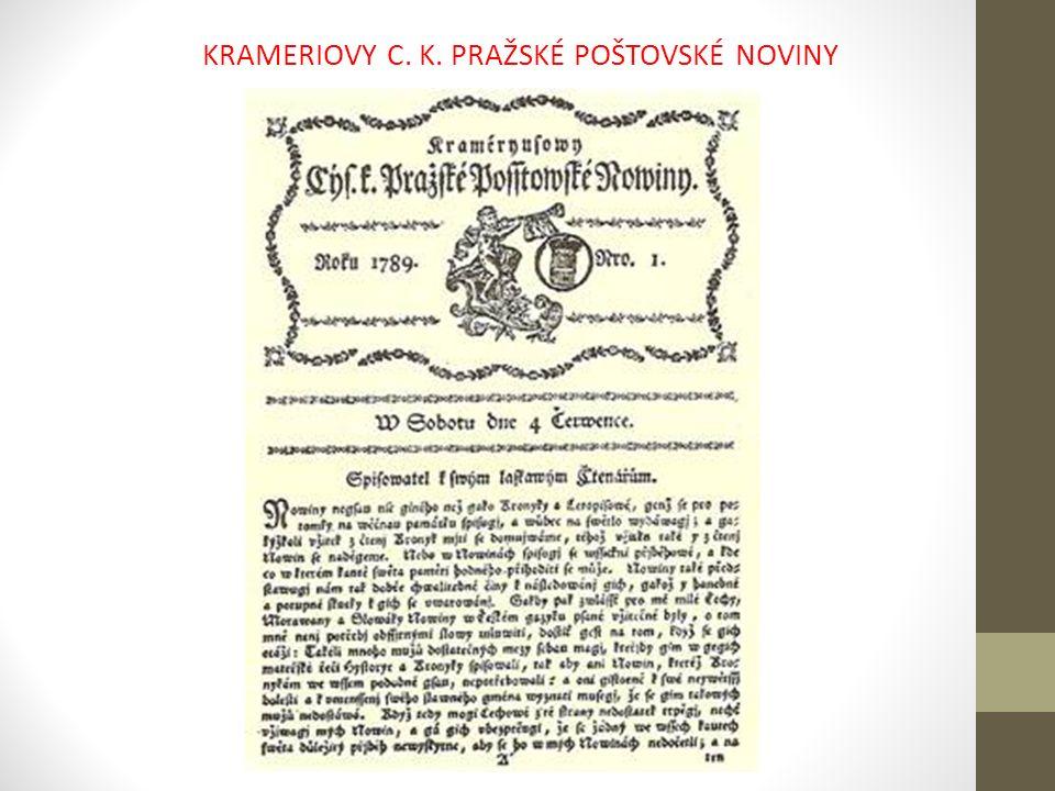 KRAMERIOVY C. K. PRAŽSKÉ POŠTOVSKÉ NOVINY