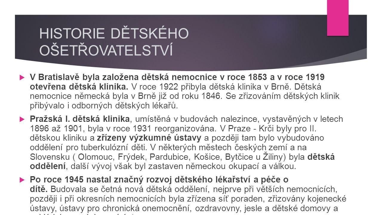 HISTORIE DĚTSKÉHO OŠETŘOVATELSTVÍ  V Bratislavě byla založena dětská nemocnice v roce 1853 a v roce 1919 otevřena dětská klinika.