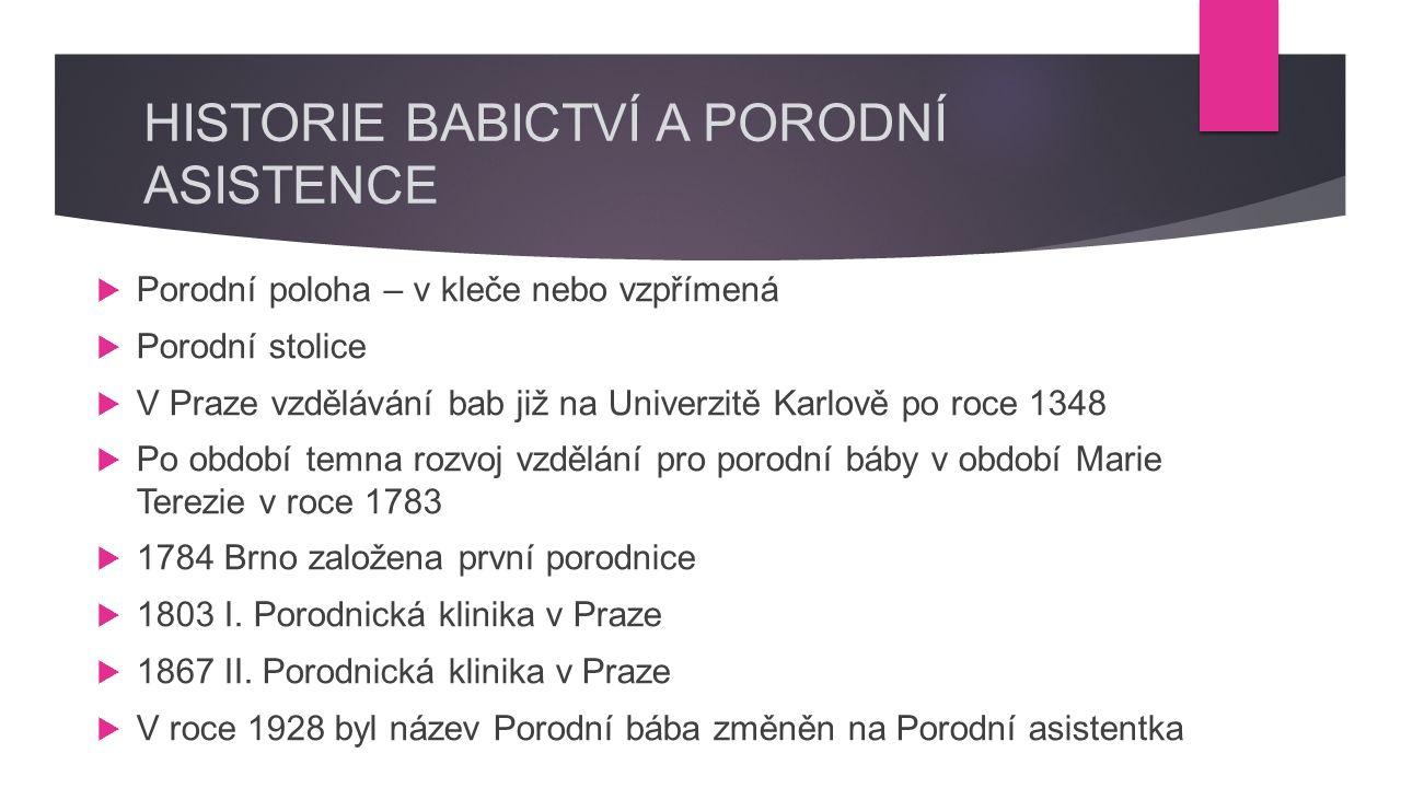 HISTORIE BABICTVÍ A PORODNÍ ASISTENCE  Porodní poloha – v kleče nebo vzpřímená  Porodní stolice  V Praze vzdělávání bab již na Univerzitě Karlově po roce 1348  Po období temna rozvoj vzdělání pro porodní báby v období Marie Terezie v roce 1783  1784 Brno založena první porodnice  1803 I.