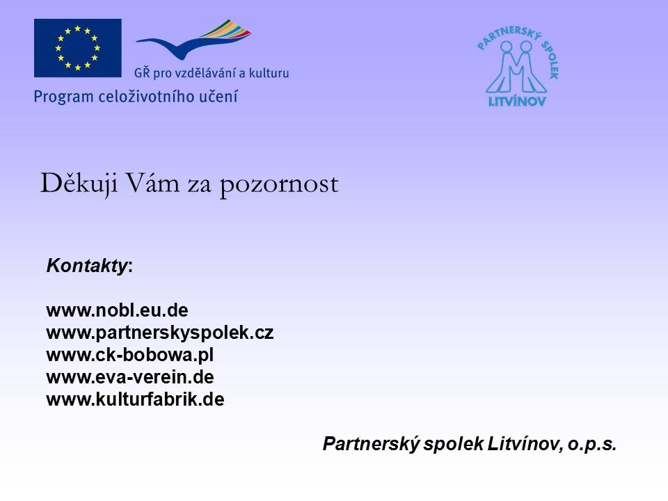 Děkuji Vám za pozornost Kontakty: www.nobl.eu.de www.partnerskyspolek.cz www.ck-bobowa.pl www.eva-verein.de www.kulturfabrik.de Partnerský spolek Litvínov, o.p.s.