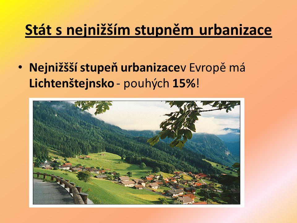 Stát s nejnižším stupněm urbanizace Nejnižšší stupeň urbanizacev Evropě má Lichtenštejnsko - pouhých 15%!