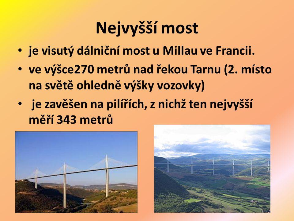 Nejvyšší most je visutý dálniční most u Millau ve Francii.
