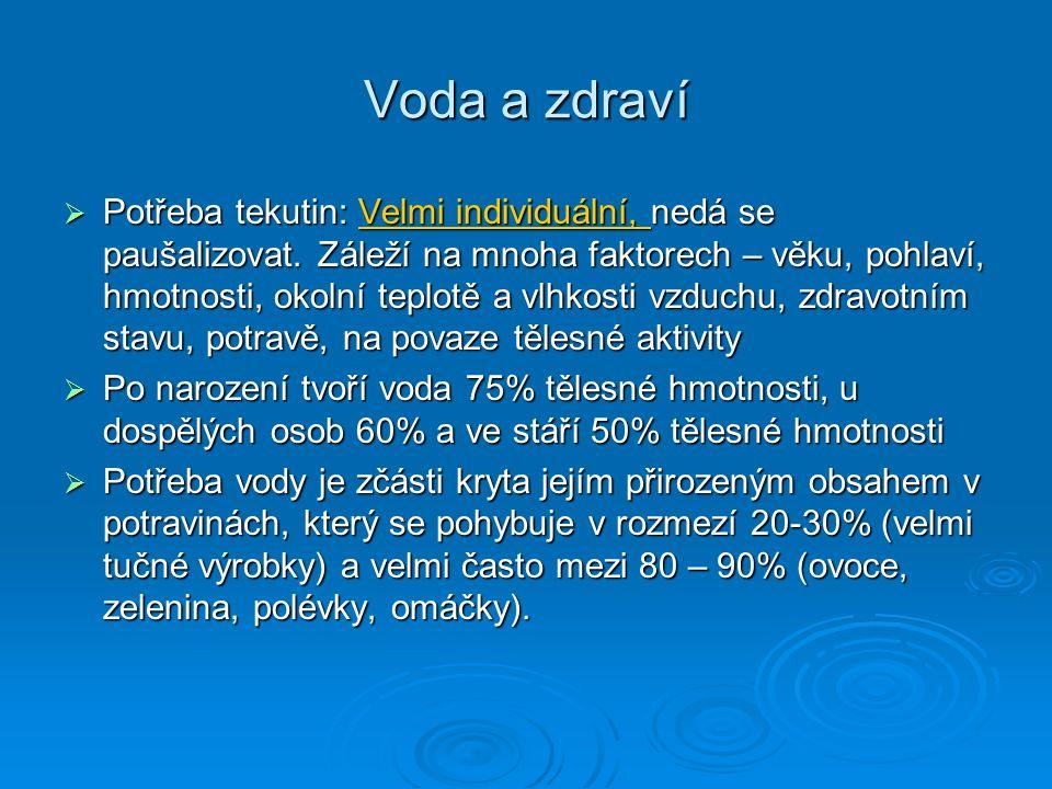 Voda a zdraví  Potřeba tekutin: Velmi individuální, nedá se paušalizovat. Záleží na mnoha faktorech – věku, pohlaví, hmotnosti, okolní teplotě a vlhk
