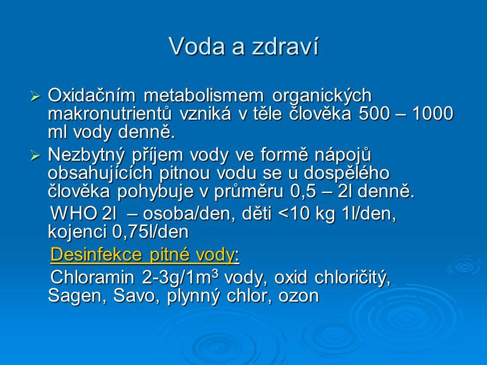 Voda a zdraví  Oxidačním metabolismem organických makronutrientů vzniká v těle člověka 500 – 1000 ml vody denně.  Nezbytný příjem vody ve formě nápo