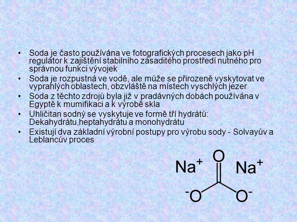 Solvayův proces V roce 1861 belgický chemik Ernest Solvay objevil metodu na přeměnu chloridu sodného na uhličitan sodný za použití amoniaku.