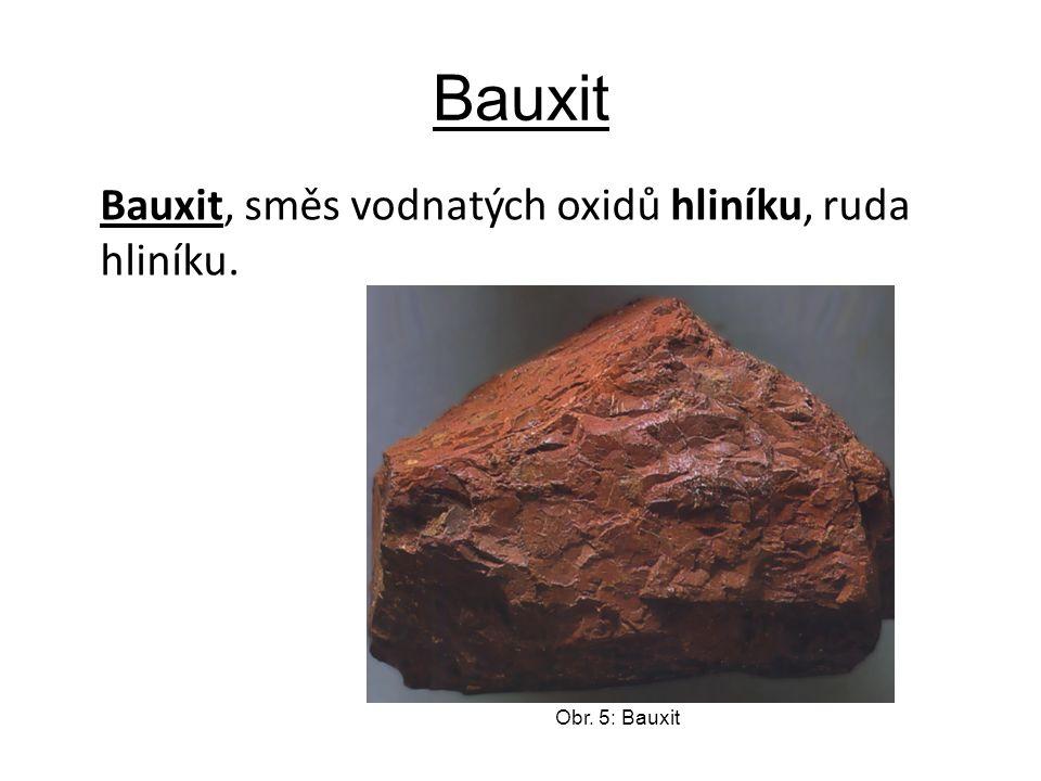 Bauxit Bauxit, směs vodnatých oxidů hliníku, ruda hliníku. Obr. 5: Bauxit