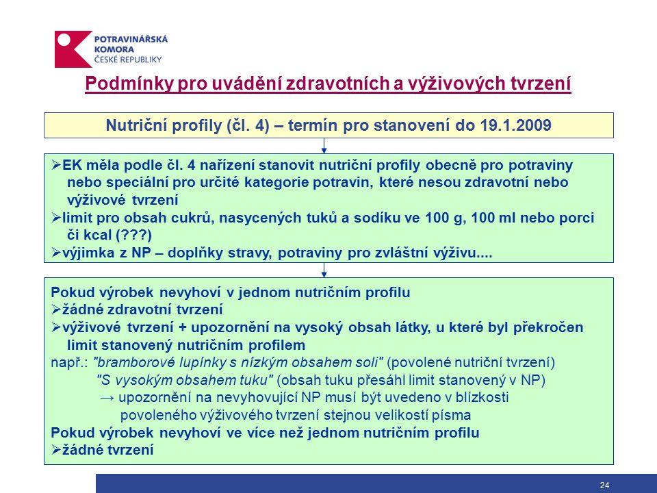 24 Nutriční profily (čl. 4) – termín pro stanovení do 19.1.2009  EK měla podle čl.