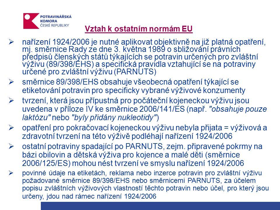 Vztah k ostatním normám EU  nařízení 1924/2006 je nutné aplikovat objektivně na již platná opatření, mj.