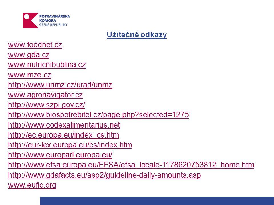Užitečné odkazy www.foodnet.cz www.gda.cz www.nutricnibublina.cz www.mze.cz http://www.unmz.cz/urad/unmz www.agronavigator.cz http://www.szpi.gov.cz/ http://www.biospotrebitel.cz/page.php selected=1275 http://www.codexhttp://www.codexalimentarius.net http://ec.europa.eu/index_cs.htm http://eur-lex.europa.eu/cs/index.htm http://www.europarl.europa.eu/ http://www.efsa.europa.eu/EFSA/efsa_locale-1178620753812_home.htm http://www.gdafacts.eu/asp2/guideline-daily-amounts.asp www.eufic.org