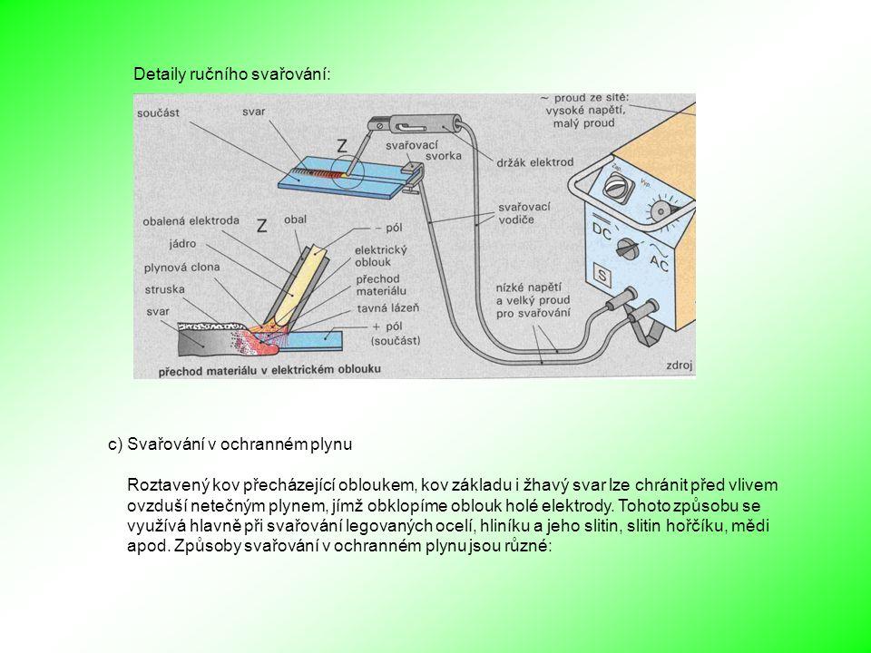 Detaily ručního svařování: c) Svařování v ochranném plynu Roztavený kov přecházející obloukem, kov základu i žhavý svar lze chránit před vlivem ovzduší netečným plynem, jímž obklopíme oblouk holé elektrody.