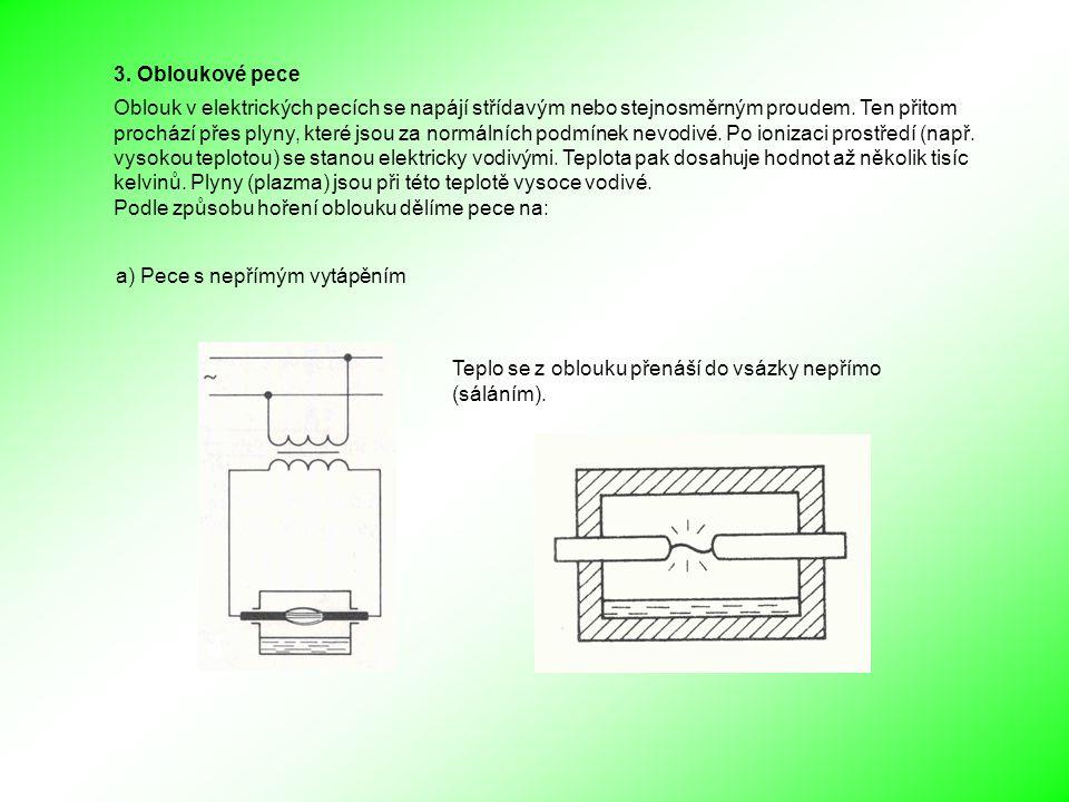 3. Obloukové pece Oblouk v elektrických pecích se napájí střídavým nebo stejnosměrným proudem.