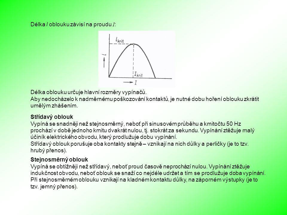 Délka l oblouku závisí na proudu I : Délka oblouku určuje hlavní rozměry vypínačů.
