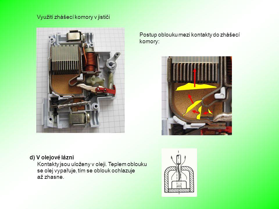 Postup oblouku mezi kontakty do zhášecí komory: Využití zhášecí komory v jističi d) V olejové lázni Kontakty jsou uloženy v oleji.