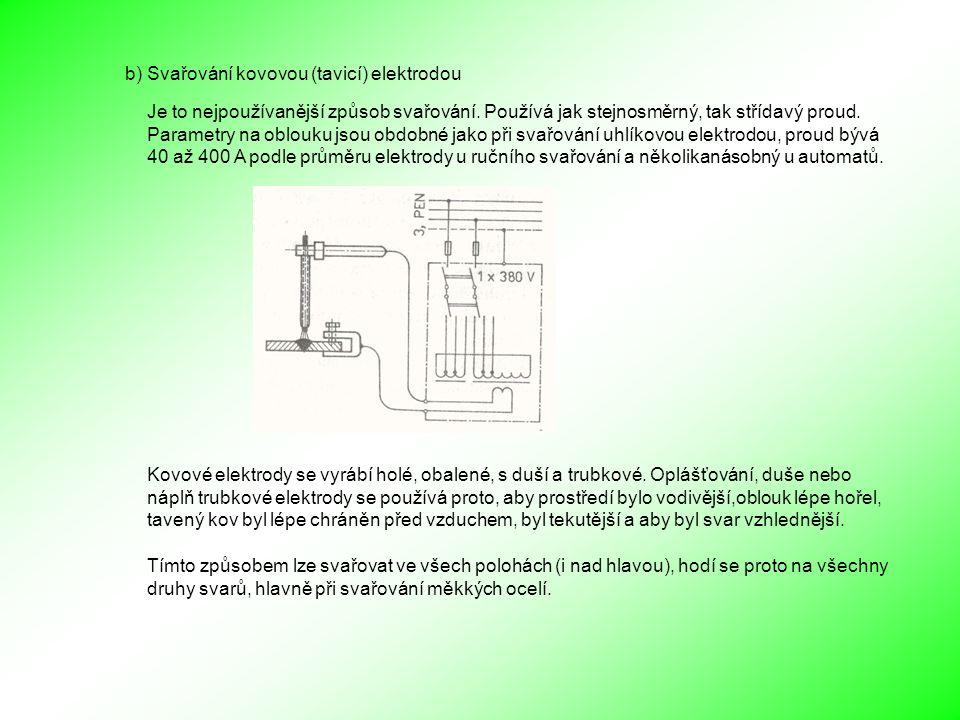 b) Svařování kovovou (tavicí) elektrodou Je to nejpoužívanější způsob svařování.