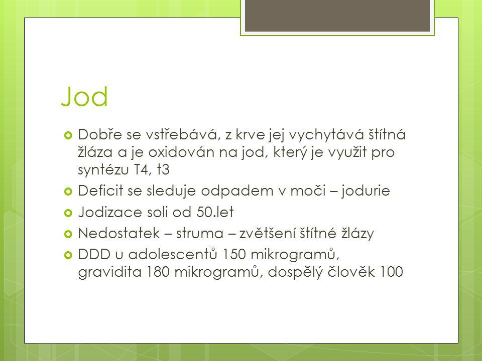 Jod  Dobře se vstřebává, z krve jej vychytává štítná žláza a je oxidován na jod, který je využit pro syntézu T4, t3  Deficit se sleduje odpadem v mo