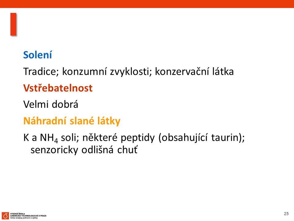 25 Solení Tradice; konzumní zvyklosti; konzervační látka Vstřebatelnost Velmi dobrá Náhradní slané látky K a NH 4 soli; některé peptidy (obsahující taurin); senzoricky odlišná chuť