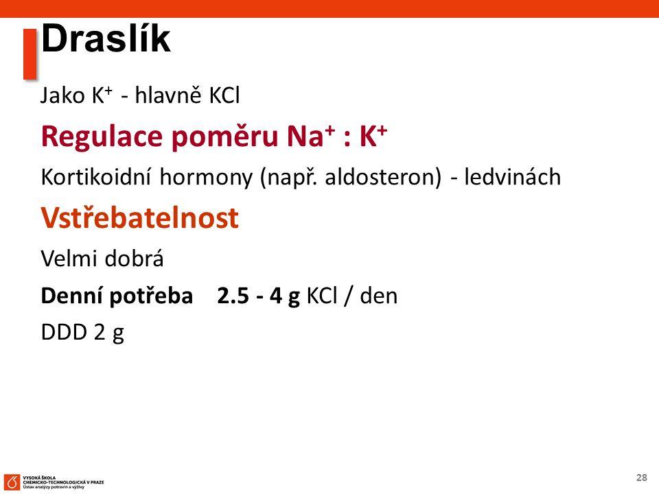 28 Draslík Jako K + - hlavně KCl Regulace poměru Na + : K + Kortikoidní hormony (např.