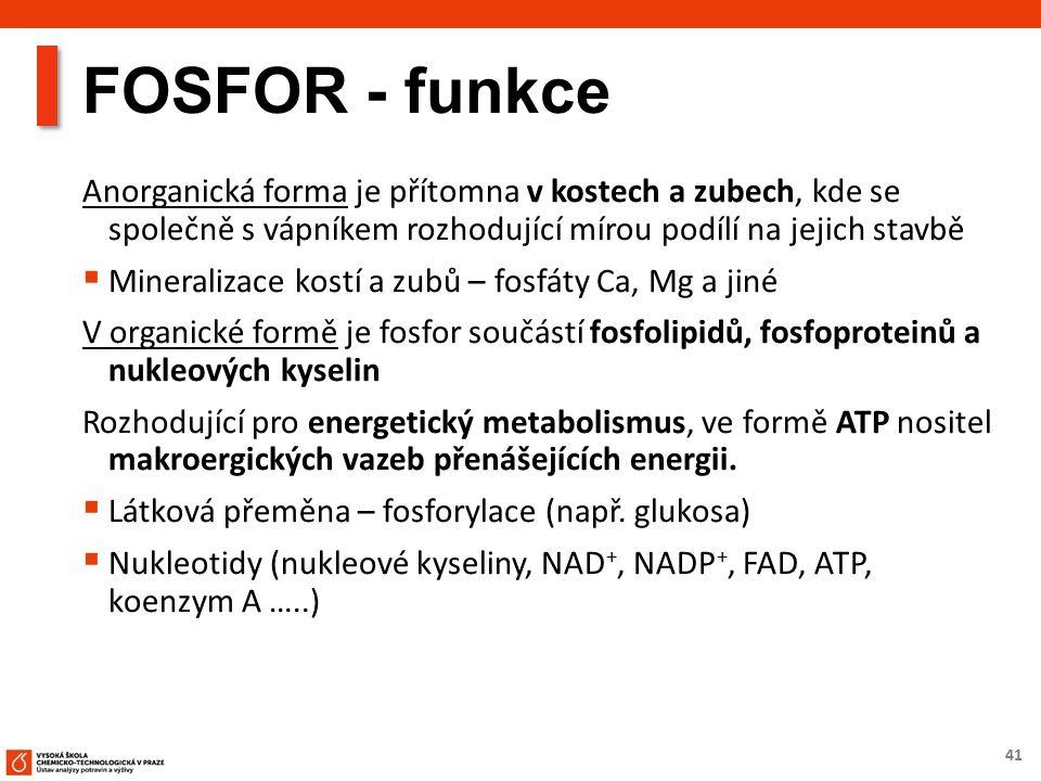 41 FOSFOR - funkce Anorganická forma je přítomna v kostech a zubech, kde se společně s vápníkem rozhodující mírou podílí na jejich stavbě  Mineralizace kostí a zubů – fosfáty Ca, Mg a jiné V organické formě je fosfor součástí fosfolipidů, fosfoproteinů a nukleových kyselin Rozhodující pro energetický metabolismus, ve formě ATP nositel makroergických vazeb přenášejících energii.