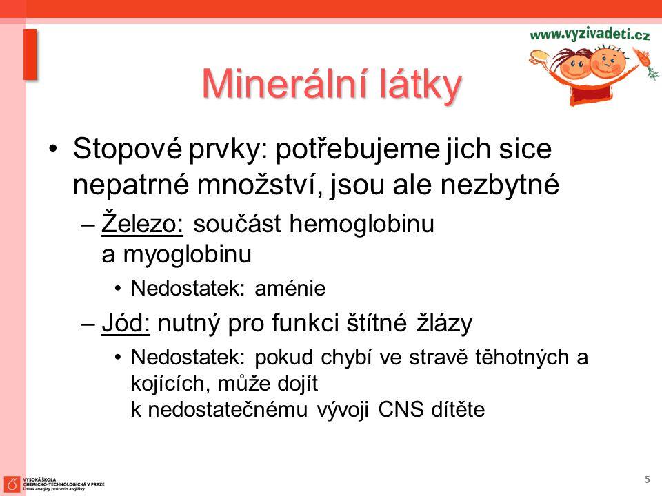 5 Minerální látky Stopové prvky: potřebujeme jich sice nepatrné množství, jsou ale nezbytné –Železo: součást hemoglobinu a myoglobinu Nedostatek: aménie –Jód: nutný pro funkci štítné žlázy Nedostatek: pokud chybí ve stravě těhotných a kojících, může dojít k nedostatečnému vývoji CNS dítěte