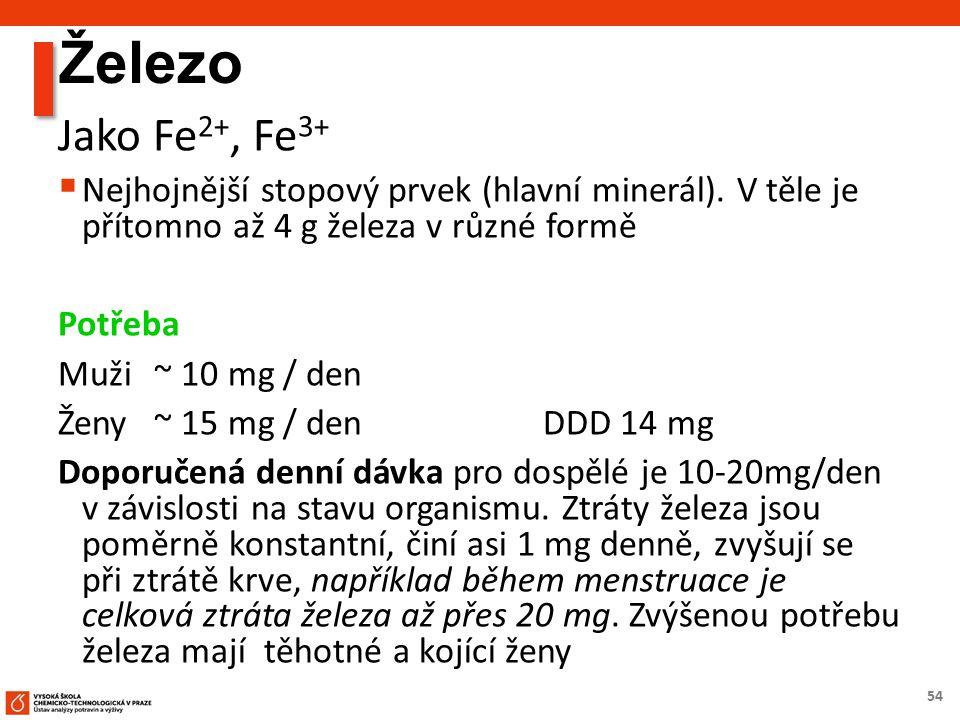 54 Železo Jako Fe 2+, Fe 3+  Nejhojnější stopový prvek (hlavní minerál).
