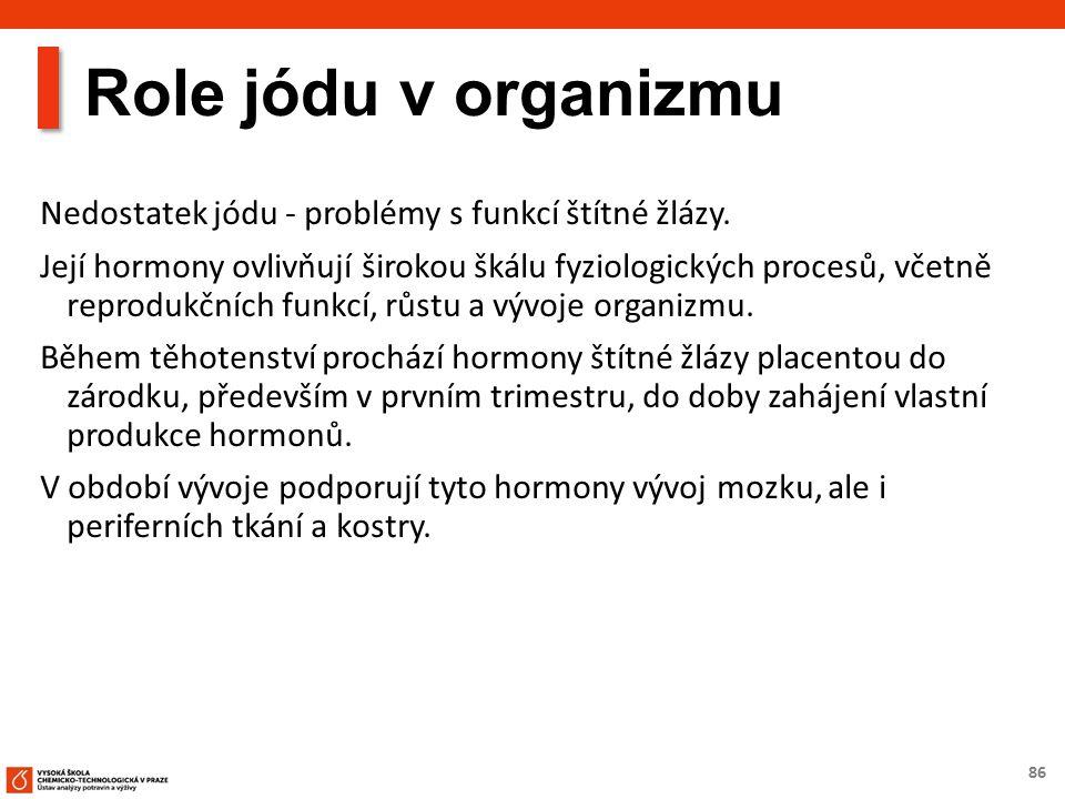 86 Role jódu v organizmu Nedostatek jódu - problémy s funkcí štítné žlázy.
