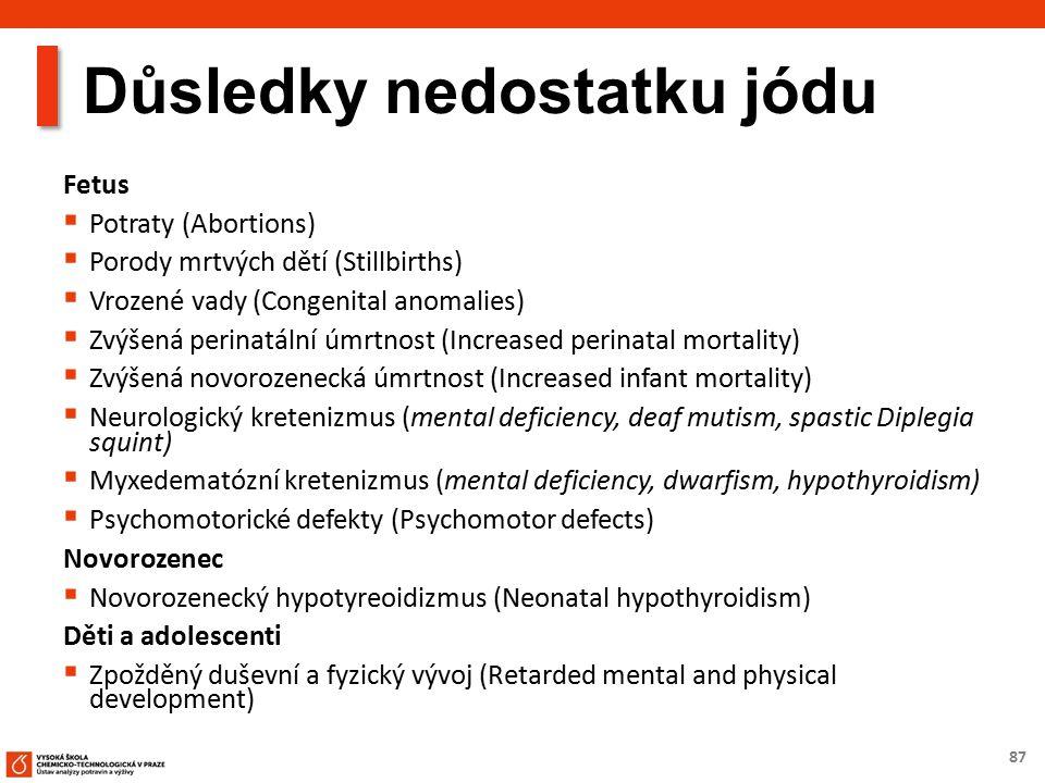 87 Důsledky nedostatku jódu Fetus  Potraty (Abortions)  Porody mrtvých dětí (Stillbirths)  Vrozené vady (Congenital anomalies)  Zvýšená perinatální úmrtnost (Increased perinatal mortality)  Zvýšená novorozenecká úmrtnost (Increased infant mortality)  Neurologický kretenizmus (mental deficiency, deaf mutism, spastic Diplegia squint)  Myxedematózní kretenizmus (mental deficiency, dwarfism, hypothyroidism)  Psychomotorické defekty (Psychomotor defects) Novorozenec  Novorozenecký hypotyreoidizmus (Neonatal hypothyroidism) Děti a adolescenti  Zpožděný duševní a fyzický vývoj (Retarded mental and physical development)