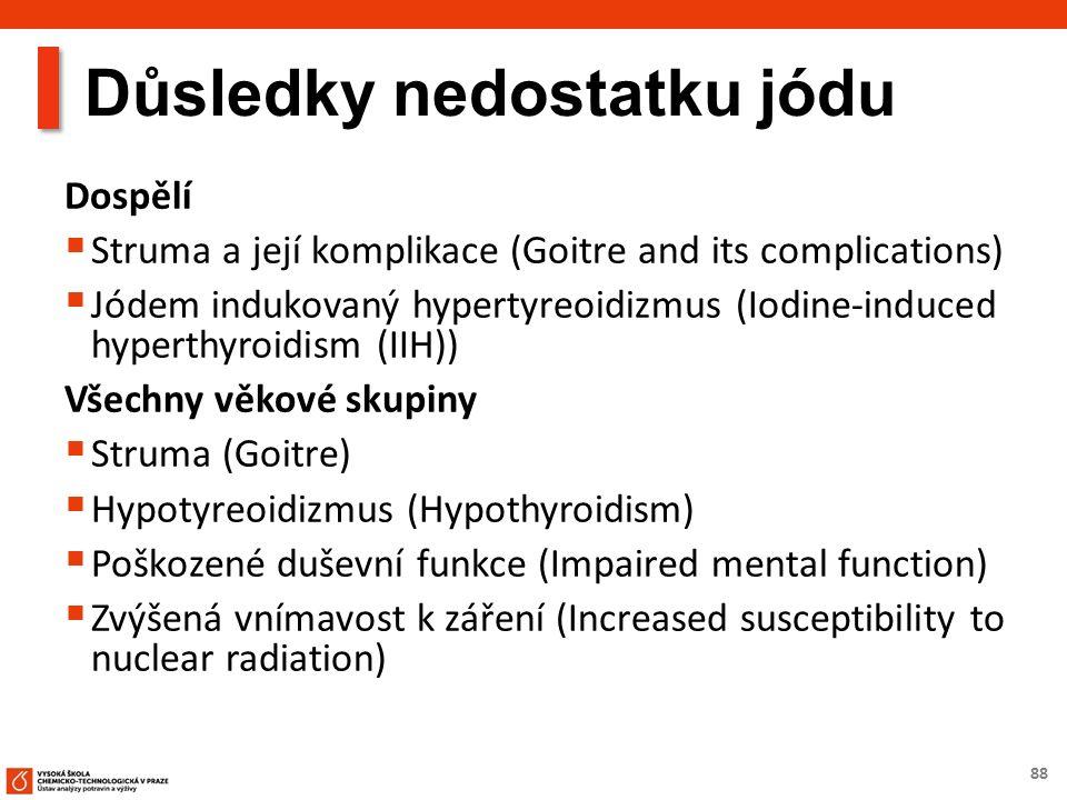88 Důsledky nedostatku jódu Dospělí  Struma a její komplikace (Goitre and its complications)  Jódem indukovaný hypertyreoidizmus (Iodine-induced hyperthyroidism (IIH)) Všechny věkové skupiny  Struma (Goitre)  Hypotyreoidizmus (Hypothyroidism)  Poškozené duševní funkce (Impaired mental function)  Zvýšená vnímavost k záření (Increased susceptibility to nuclear radiation)