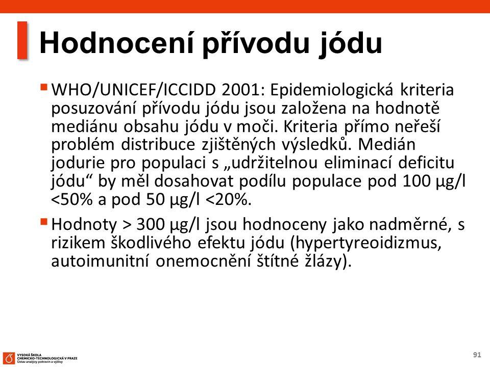 91 Hodnocení přívodu jódu  WHO/UNICEF/ICCIDD 2001: Epidemiologická kriteria posuzování přívodu jódu jsou založena na hodnotě mediánu obsahu jódu v moči.