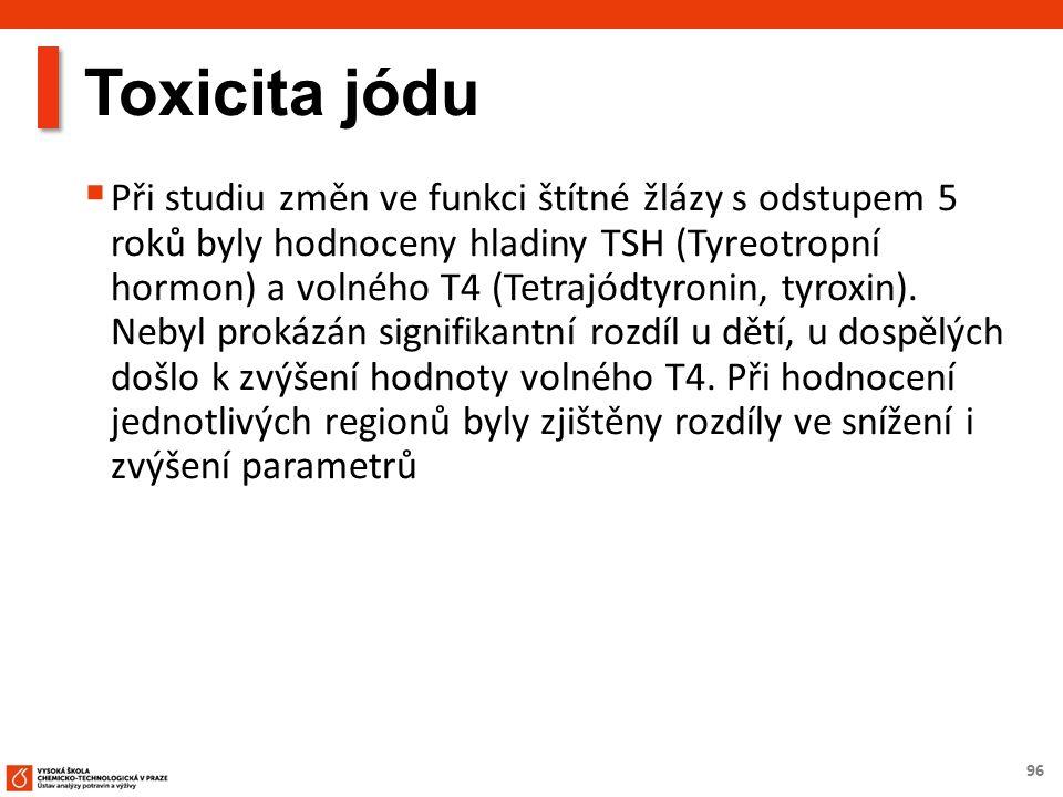 96 Toxicita jódu  Při studiu změn ve funkci štítné žlázy s odstupem 5 roků byly hodnoceny hladiny TSH (Tyreotropní hormon) a volného T4 (Tetrajódtyronin, tyroxin).