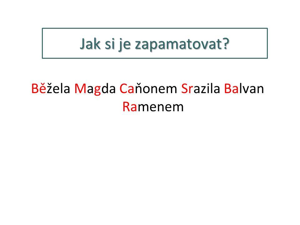 Jak si je zapamatovat Běžela Magda Caňonem Srazila Balvan Ramenem