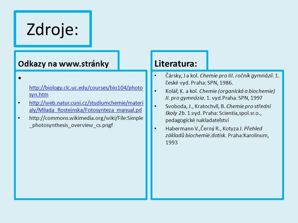 Zdroje: Odkazy na www.stránky http://biology.clc.uc.edu/courses/bio104/photo syn.htm http://biology.clc.uc.edu/courses/bio104/photo syn.htm http://web